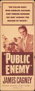 """Movie Posters:Crime, The Public Enemy (Warner Bros., R-1954). Folded, Fine. Insert (14"""" X 36""""). Crime.. ..."""