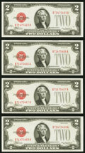 Fr. 1504 $2 1928C Legal Tender Notes. Four Examples. Choice Crisp Uncirculated. ... (Total: 4 notes)