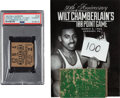 Basketball Collectibles:Others, 1962 Wilt Chamberlain 100-Point Game Ticket Stub (PSA Authentic) & Hershey (PA) Sports Arena Floor Piece.... (Total: 2 item)