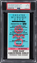 Golf Collectibles:Ephemera, 1996 Greater Milwaukee Open Full Ticket (Tiger Woods Professional Debut) PSA NM-MT 8--Highest Graded Example!...