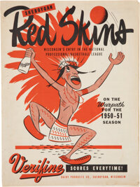 1950-51 Green Bay Packers vs. Sheboygan Redskins Basketball Program - Only Example Known!