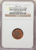 Errors, 1941 1C Lincoln Cent -- 10% Straight Clip -- MS65 Red and Brown NGC. (2.8 grams)....