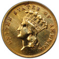 Three Dollar Gold Pieces, 1859 $3 -- Repaired -- PCGS Genuine. VF Details. Mintage 15,500....