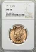 Indian Eagles: , 1915 $10 MS63 NGC. NGC Census: (442/470). PCGS Population: (1085/615). CDN: $1,390 Whsle. Bid for NGC/PCGS MS63. Mintage 35...
