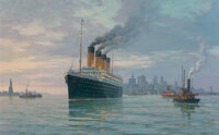 "William Muller (American, b. 1937) White Star Liner ""Olympic"" (1911) Leaving New York Harbor on a Summer Eveni..."