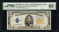 Small Size:World War II Emergency Notes, Fr. 2307 $5 1934A North Africa Silver Certificate. PMG Gem...