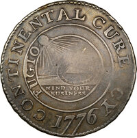 1776 Continental Dollar, CURENCY, Silver, Newman 1-C, Breen-1091, Hodder 1-A.3, W-8450, R.8, VF35 NGC. CAC....(PCGS# 793...