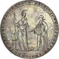 1768 King's College (Columbia University) Literary Society Prize Medal. Awarded to Gouverneur Morris. AU55 NGC