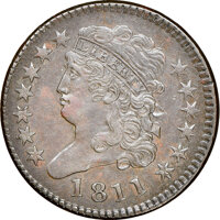 1811 Wide Date, C-1, B-1, R.4, AU53 NGC. Our EAC grade VF35. ...(PCGS# 35239)