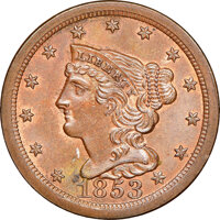 1853 C-1, B-1, R.1, MS63 Brown NGC. Our EAC grade MS62. ...(PCGS# 35327)