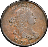 1804 Spiked Chin, C-8, B-7, R.1, AU50 NGC. CAC. Our EAC grade VF25. ...(PCGS# 35167)
