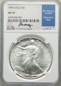 1986 $1 Silver Eagle, Moy Signature MS70 NGC. NGC Census: (0). PCGS Population: (3)....(PCGS# 532531)