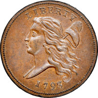 1793 Liberty Cap Left, Straight Cap, C-3, B-3, R.3, MS64+ Brown NGC. CAC. Our EAC grade MS63. ...(PCGS# 35009)