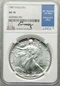 Modern Bullion Coins, 1987 $1 Silver Eagle, Moy Signature MS70 NGC. NGC Census: (0). PCGS Population: (3). Mintage 11,442,335. ...