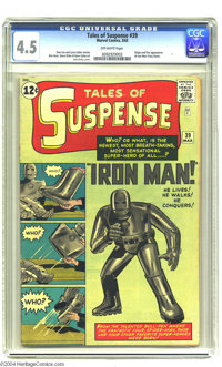 Tales of Suspense #39 (Marvel, 1963) CGC VG+ 4.5 Off-white pages. Origin and first appearance of Iron Man, with a Jack K...