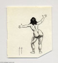 Original Comic Art:Sketches, Frank Frazetta - Standing Female Nude Sketch Original Art (undated). A very tight and detailed ink drawing of a female stand...