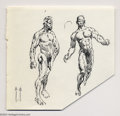 Original Comic Art:Sketches, Frank Frazetta - Two Male Nudes Sketch Original Art (undated). Two very finished pen and ink anatomy studies. The right cor...