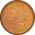 1849 Large Date, C-1, B-4, R.2, MS65 Brown NGC. CAC. Our EAC grade MS60. ...(PCGS# 35318)