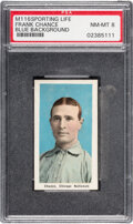 Baseball Cards:Singles (Pre-1930), 1910-11 M116 Sporting Life Frank Chance (Blue Background) PSA NM-MT 8 - Pop One, None Higher....