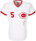 Baseball Collectibles:Uniforms, 1983 Johnny Bench Game Worn & Signed Cincinnati Reds Jersey with Bench COA, MEARS A10....