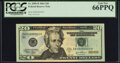 Small Size:Federal Reserve Notes, Low Serial Number 3 Fr. 2089-B $20 2004 Federal Reserve Note. PCGS Gem New 66PPQ.. ...