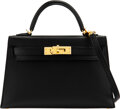 Luxury Accessories:Bags, Hermès 20cm Black Epsom Leather Mini Kelly II Bag with Gold Hardware. C, 2018. Condition: 3...