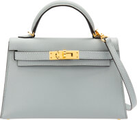 "Hermès 20cm Blue Glacier Epsom Leather Mini Kelly II Bag with Gold Hardware C, 2018 Condition: 3 7.5"" Width..."