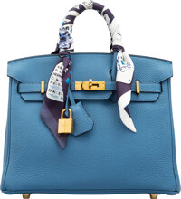 "Hermès 25cm Blue Azur Togo Leather Birkin Bag with Gold Hardware and Twillys C, 2018 Condition: 1 10"" Width..."