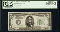Small Size:Federal Reserve Notes, Fr. 1956-C $5 1934 Dark Green Seal Mule Federal Reserve Note. PCGS Gem New 66PPQ.. ...