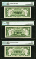 Fr. 2301 $5 1934 Mule Hawaii Federal Reserve Notes. Three Consecutive Examples. PMG Choice Uncirculated 64 EPQ