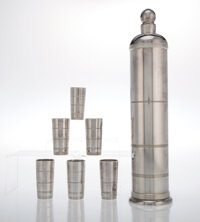 Lurelle Van Arsdale Guild (American, 1898-1985) Cocktail Shaker and Six Cups, circa 1934 Silver-plated metal 15-3/4 x...