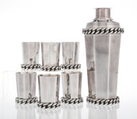 Jean Després (French, 1889-1980) Rare Cocktail Shaker and Six Cups, 1926 Silver-plated metal 9-1/2 inches (24.1 c...