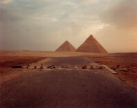 Richard Misrach (American, 1949) Road Blockade and Pyramids, 1989 Dye coupler 9-1/2 x 12 inches (