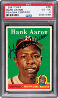 Autographs:Sports Cards, Signed 1958 Topps Hank Aaron (White Letters) #30 PSA VG-EX 4, PSA/DNA Authentic Auto....