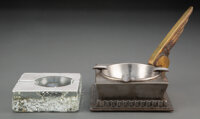 Edgar Brandt Metal and Gilt Bronze Aviation Ashtray and an Art Deco Silver and Glass Ashtray