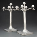 Silver & Vertu, Pair of Bitter and Gobbers Imperial Zinn Pewter Five-Light Candelabra, circa 1900. Marks: (B-crown-G), IMPERIAL, 4633. 1... (Total: 2 Items)