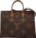 """Luxury Accessories:Bags, Louis Vuitton Reverse Giant Monogram Coated Canvas OnTheGo Bag. Condition: 2. 16"""" Width x 12.5"""" Height x 6.5"""" Depth..."""
