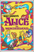 "Movie Posters:Animation, Alice in Wonderland (Buena Vista, R-1974). Flat Folded, Very Fine. One Sheet (27"" X 41""). Animation.. ..."