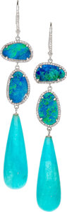 Estate Jewelry:Earrings, Amazonite, Opal Doublet, Diamond, White Gold Earrings. ...