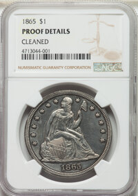1865 $1 -- Cleaned -- NGC Details. Proof. Mintage 500....(PCGS# 7008)