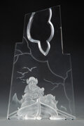 Glass, Extremely Rare Steuben Etched Glass Henry Hudson Sculpture Designed by James Houston in Original Fitted Box, des...