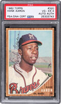 Autographs:Sports Cards, Signed 1962 Topps Hank Aaron #320 PSA VG-EX 4....