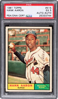 Autographs:Sports Cards, Signed 1961 Topps Hank Aaron #415 PSA EX 5, PSA/DNA Authentic....