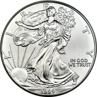 1999 $1 Silver Eagle, Mercanti Flag Signature MS70 PCGS. The 1999 Silver Eagle is a rarity in PCGS-certified MS70 condit...