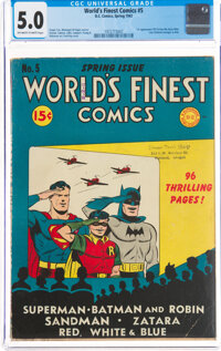 World's Finest Comics #5 (DC, 1942) CGC VG/FN 5.0 Off-white to white pages