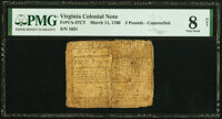 Virginia March 11, 1760 £2 Contemporary Counterfeit PMG Very Good 8 Net
