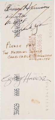 George Harrison Signed Personal Check (1990)
