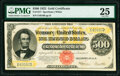 Large Size:Gold Certificates, Fr. 1217 $500 1922 Gold Certificate PMG Very Fine 25.. ...