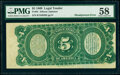 Misaligned Back Printing Error Fr. 64 $5 1869 Legal Tender PMG Choice About Unc 58