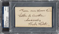 Baseball Collectibles:Others, 1930's Babe Ruth Signed Cut with Unique Inscription, PSA/DNA Mint 9. ...